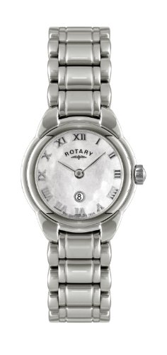 Rotary Women's Quartz Watch with Pink Dial Analogue Display and Silver Stainless Steel Bracelet LB02601-07L