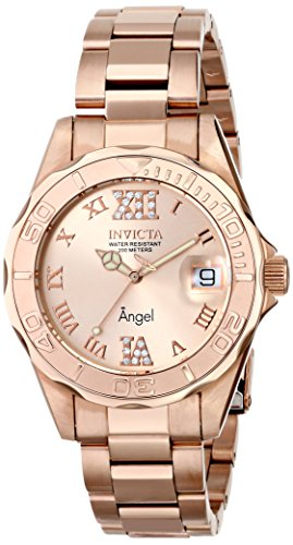 Invicta Women's 14398 Angel Rose Gold Dial Rose Gold Tone Watch with Crystal Accents