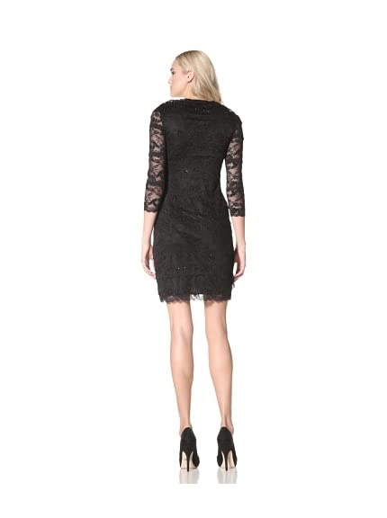 Marina Womens Beaded Lace Dress