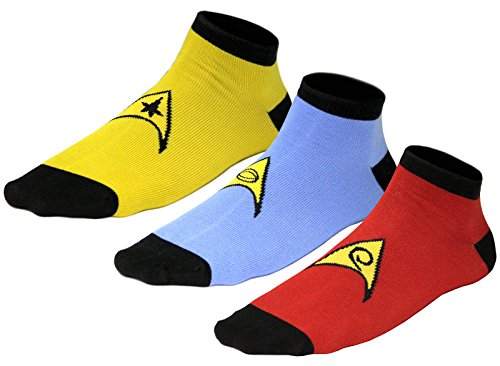 Star Trek Uniform Socks -- Command - Science - Engineering -- Set Of 3 Pairs