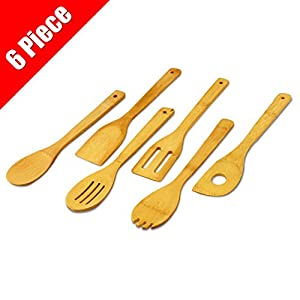 Home-Restaurant 6-Piece Bamboo Cooking Utensil-Set - Durable, Easy Clean, Made of Eco-Friendly Bamboo Wood by Utopia Kitchen