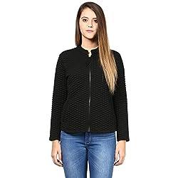 Women'S Jacket In Black Diamond Pattern Knit