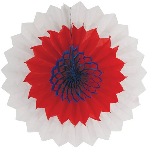 Creative Converting 12 Count Tissue Fans, Red, White and Blue