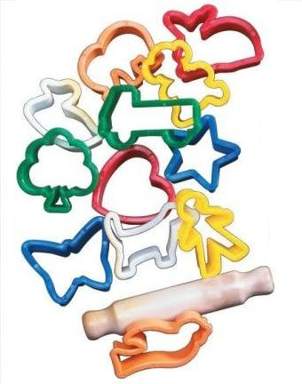 School Smart Animals And Objects Clay Cutters And Rolling Pin - 2 In - Set Of 12 - Assorted Colors front-1084069