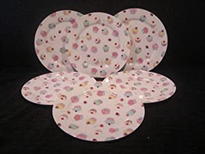 CUP CAKES DINNER PLATES SET OF 6 UK POSTAGE FREE
