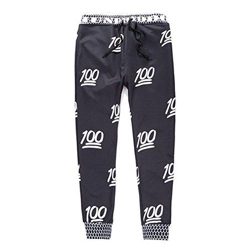 Women Men Emoji 3D White 100 Score Sweatpants Joggers Pants (L)