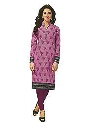 PShopee Light Purple Cotton Printed Unstitched Kurti/Top Material