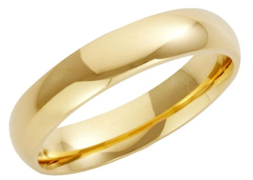 Wedding Ring, 9 Carat Yellow Gold Heavy Court Shape, 4mm Band Width