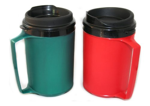 2 Thermoserv Foam Insulated Coffee Mugs 12 Oz (1) Green & (1) Red