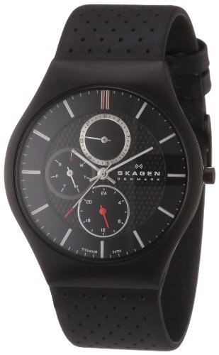 Skagen Titanimum White Label Men's Quartz Watch with Black Dial Analogue Display and Black Leather Strap 806XLTBLB