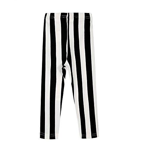 Girls stretch stripe Leggings Black fringe fringe pattern pants scrunchie bonus (110 cm)