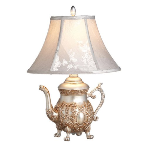 Home/Garden Décor By CBK Set Of Two Antique Silver Teapot Accent Lamp With Softback Bell Shade/ Polyresin/ (Set Of 2)