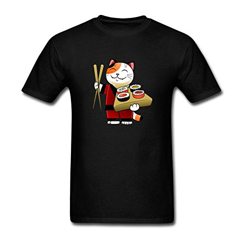 DESBH Men's Japanese Cat Chef Short Sleeve T Shirt Black (Chef Shake Burger compare prices)