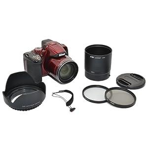 Kiwifotos Kit d'accessoires pour Nikon Coolpix P510, P520 - Adaptateur d'objectif comprend, Pare-soleil d'objectif, Filtres UV & CPL, Bouchon d'objectif et Bouchon d'Objectif gardien