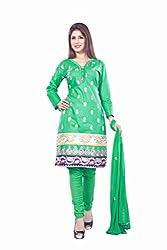Styles Closet Women Cotton Straight Suit (Bnd-Taj Mahal2 Green _Green _Free Size)