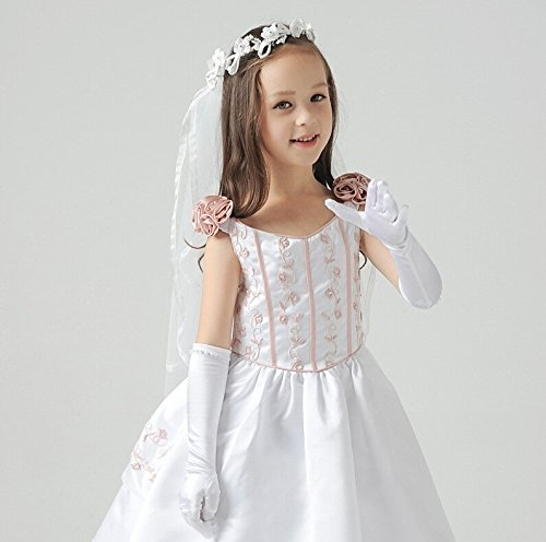 Ever Fairy Girls Classic White Wedding Dress Beaded Gloves