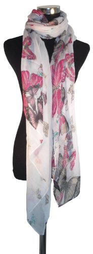 Large White Butterfly Chiffon Scarf or Sarong