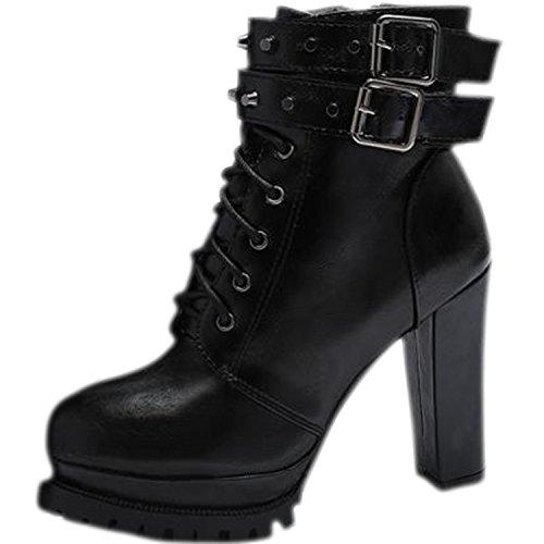 Oasap Femme Mode Boots A Cheville Zip Sur Le Côté Talons Bloc