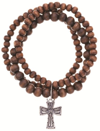 Poet Girl Recycled Wood Cross Stretch Bracelet