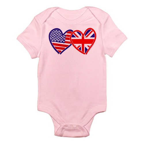 CafePress - American Flag/Union Jack Flag Hearts Infant Bodysu - Cute Infant Bodysuit Baby Romper (British Shirt For Girls compare prices)