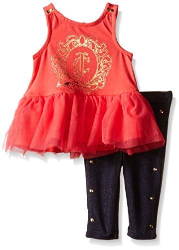 Juicy Couture Baby Jersey with Knit Mesh Accent Top and Leggings, Red Icing, 24 Months