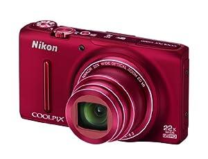 Nikon Coolpix S9500 Fotocamera Digitale 18 Megapixel, Zoom Ottico 22x, Display OLED da 7.6 cm (3 Pollici), Stabilizzatore d'Immagine, Colore Rosso Rubino