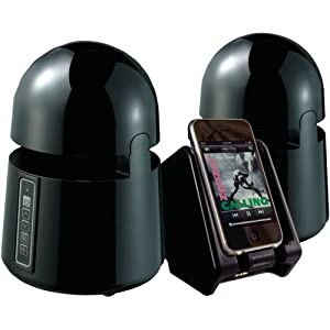 Grace Digital GDI-AQBLT300B Indoor/Outdoor Wireless Speakers with Dual Powered Transmitter for iPhone, Smartphone, MP3 player, TV or Stereo (Black, 2)