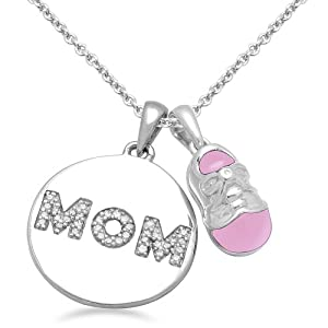 Sterling Silver Diamond Shoe with Pink Enamel and Circle Mom Pendant Necklace , 18""