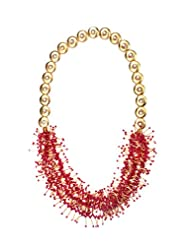 Angells Kreate Sizzling Red Red Metal Choker Necklace For Women