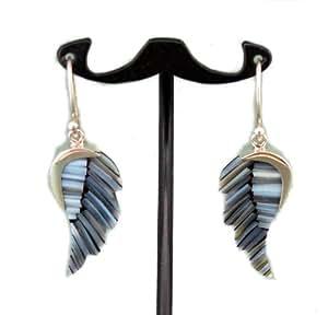 extravagante Fluegelohrhaenger mit blauer Bambus-Koralle, Sterling-Silber 925