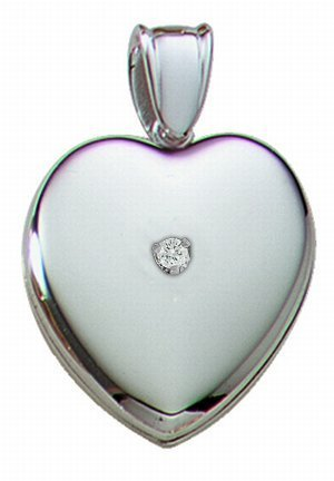 14K White Premium Cremation and Hair Locket w/ Diamond Center - 3/4 inch x 3/4 inch in Solid 14K White Gold