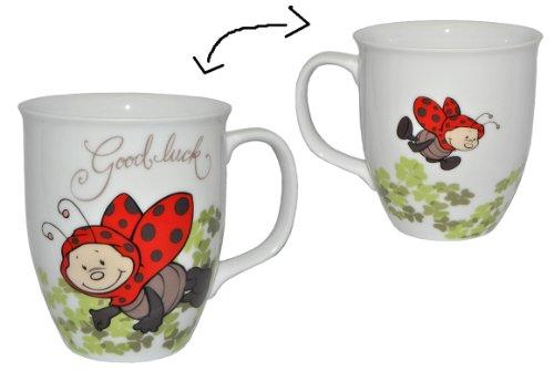 Henkeltasse Marienkäfer groß - Keramik Trinktasse Tasse Porzellantasse Käfer Good Luck Glück Punkte