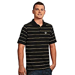 New Orleans Saints Deluxe Striped Polo (Team Color) by Antigua