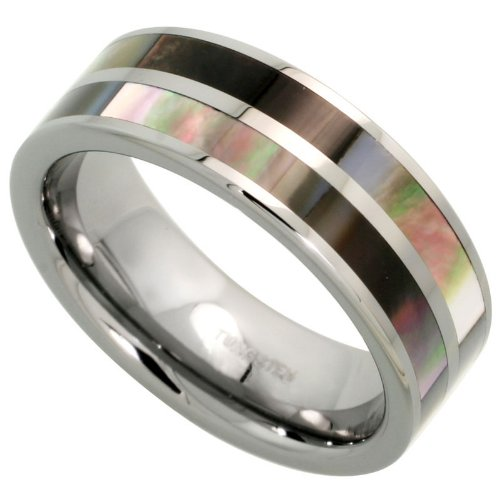 Revoni Tungsten Carbide 8 mm Flat Wedding Band Ring Inlaid Mother of Pearl Stripes, size N