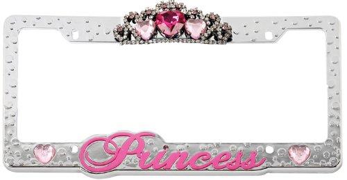License Plate Frame Chrome Pink Princess Love W 3d Rose