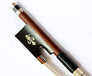 Full-size 4/4 Silver Mounted Violin Bow, Brazilwood, Flower Inlay, Well-balanced Bow