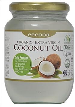 エクーア エキストラバージンココナッツオイル フィリピン政府オーガニック認証、米国FDA認証、ハラル認証、コーシャオーガニック認証、ガラス瓶、500ml