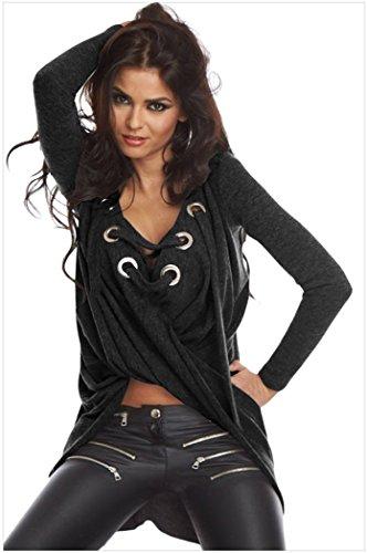 Elady Sexy Irregular Top Women Short Blouse Shirt Metal Eye Straps Long Sleeve Black