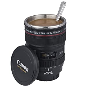 Camera lens mug cup 1 1 ef 24 105mm stainless steel lining for Photo lens coffee cup