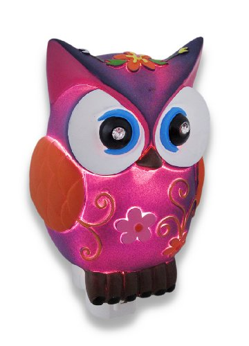 Precious Purple & Orange Owl Childrens Night Light Nite Lite Nightlight front-871276
