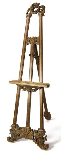 "Artright Carved Wood Ornate Floor Display Easel With Rich Leafed Finish, 68"" Tall front-335175"