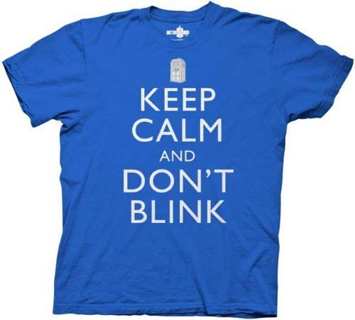 Dr. Doctor Who Keep Calm and Don't Blink Blue Adult T-shirt Tee