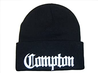 3D Embroidered Compton Eazy E Beanie Cap Hat (One SIze, Black/White)