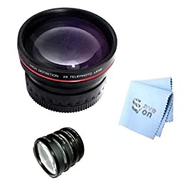 SAVEoN Professional 52mm Telephoto Lens + SAVEoN MicroFiber Cleaning Cloth + Lens Tube Adapter + 4PC Macro Close Up Kit for Canon A630