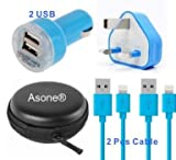 Asone Blue 4-in-1 Earphone/cable Hard Case/Bag + Wall Charger + Car Charger+ 1M Length USB Sync Data / Charging Cable for iPhone 5 / 5C / 5S iPad Mini iPod Touch 5th Gen
