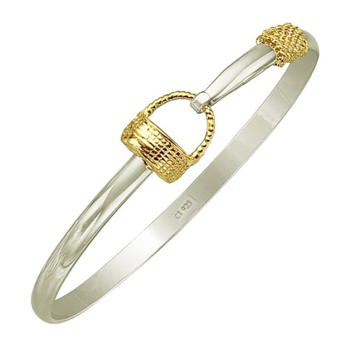 Sterling Silver 18K Gold Plated Woven Gift Basket Bangle Bracelet