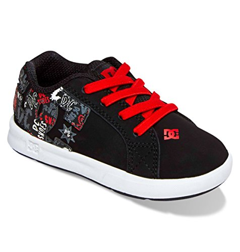 Dc Court Graffik Elastic Ul Skate Shoe (Toddler),Black/Biking Red,8 M Us Toddler front-1030527