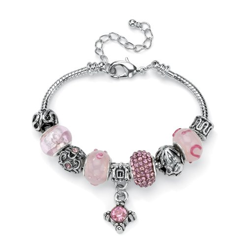 Lillith Star - Pink Crystal Bali-Style Beaded Charm and Spacer Bracelet in Silvertone Metal