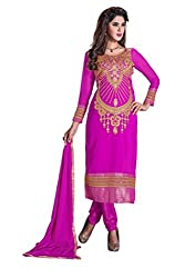 R K EXPORTS Presents Multi Embroidered Georgette Straight Unstiched Dress Material (Rani)