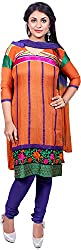 Raahi Unstitched Orange Cotton Embroidered Dress Material - Salwar Suit